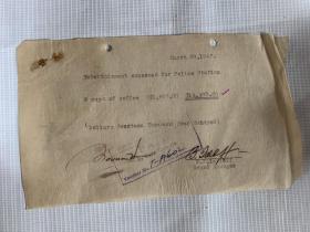 5356:1947至1948年华纳第一国家影片公司 国泰航空公司  银行 等收据 发票6张,每张均不重复,有签名英文