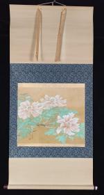 【日本回流】原装旧裱 秀谷 国画作品《芍药》一幅(纸本立轴,画心约2.1平尺,款识钤印:秀谷)HXTX201774