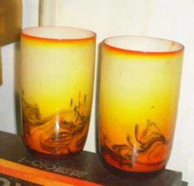 一对    文革     老琉璃     茶杯