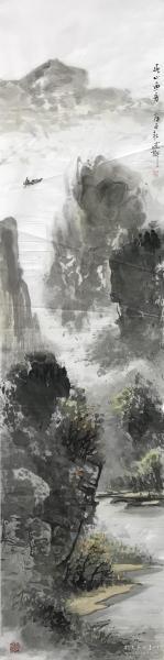 【取自本人 终身保真】贾述轩,中国书画研究院名誉院长,国际中华艺术家协会专家顾问。 1955年生,四川井研人,中国书画研究院名誉院长,国际中华艺术家协会专家顾问。 四尺对开条屏水墨写意山水画3《春心雨舟》(136×34CM)
