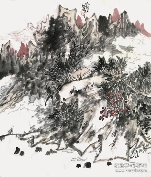 【来自画家本人,终身保真】郎祎,又名郎国平,中国美协内蒙古美术家协会会员,呼和浩特市美术家协会丶摄影家协会会员,内蒙古诗书画研究会画院院长。四尺斗方写意山水画3《青山》(68×60cm)