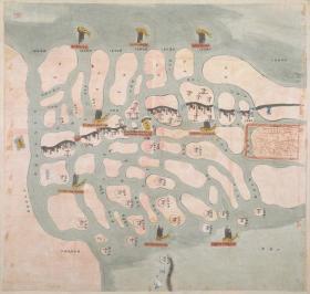 古地图1839 盐城营河海舆图彩绘 清道光19年后。纸本大小54.13*56.9厘米。宣纸原色微喷印制。