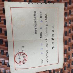 学科结业证书1965年