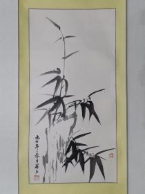 保真书画,李荷力墨竹国画一幅,原装裱镜心,尺寸67×34cm