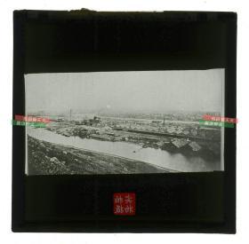 清代民国玻璃幻灯片-----民国时长江流域湖北汉阳钢铁厂全景老玻璃幻灯