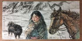 艾轩,国家一级美术师、中国美术协会会员、中国油画学会常务理事,国画     137cmx68cm