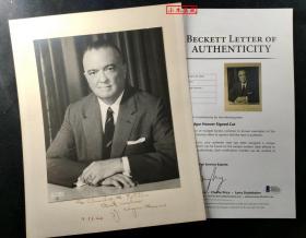 """""""美国 FBI 联邦调查局首任传奇局长"""" 埃德加·胡佛 签赠老照片 由三大签名 鉴定公司之一Beckett(BAS)提供鉴定"""