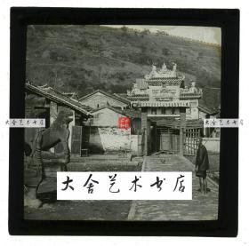 清代民国玻璃幻灯片-----清末民国时期广东广州东辕门石头牌坊和石狮老玻璃幻灯,远处可见广州城墙