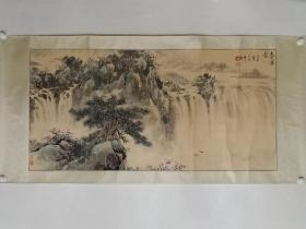 保真书画,著名山水画家贾耀民《春瀑图》一幅,原装裱镜心,尺寸64×130cm