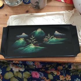漂亮手工彩绘山水漆器长条小托盘