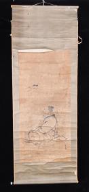 【日本回流】原装旧裱 吴春 国画作品《放鹤图》一幅(纸本立轴,画心约5.8平尺,款识钤印:吴春)HXTX201864