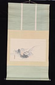 【日本回流】原装旧裱 石兰 国画作品《晨曦》一幅(纸本立轴,画心约1.6平尺,款识钤印:庸)HXTX201869
