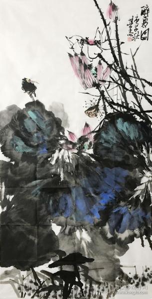 【中国美协会员精品】【取自画家本人,终身保真】王其志,中国美协会员,毕业于南京师范大学美术学院,原创真品。四尺整张中堂水墨花鸟画5《荷花》《醉夏图》(68×136cm)。