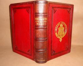 1860年The Poetical Works of William Wordsworth《华兹华斯诗集》红色全摩洛哥羊皮双面烫金插图本古董书 精美钢版画插图 品上佳