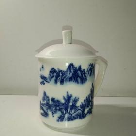 岁月浸染之美◆精美山水画青花瓷茶杯