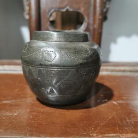 清代珍珠地錾刻百年好合锡水盂