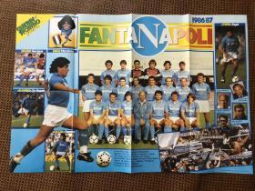 原版足球海报 8687赛季那不勒斯 罗马双面大幅海报 马拉多纳的第一次意甲冠军赛季