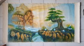 老油画精品(气势磅礴的黄山仙景)手工绘画原作【保真】