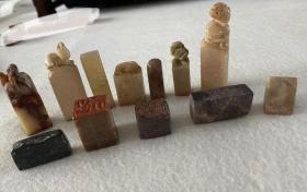 日本回流老印章,寿山石印章一组十二枚,有两枚是双面印。