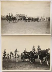 两张旧中国早期老照片可能是1920年代上海公共租界万国商团炮队或英国陆军野战炮兵检阅马匹牵引火炮和前车
