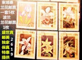 精选特惠:【 柬埔寨1999年兰花专题邮票 】  一套 5枚   波兰兰花邮票1枚