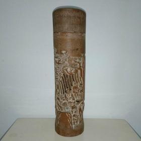 老竹雕人物香筒【形制古朴、人物众多、栩栩如生】