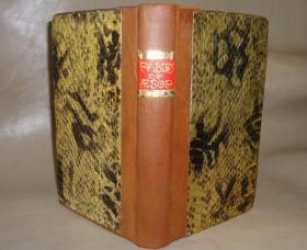 1810年 - AESOP'S FABLES - 《伊索寓言》著名的克罗索(Samuel Croxall) 木刻绘本 珍贵金色蟒蛇皮手工装桢 大量木刻插图