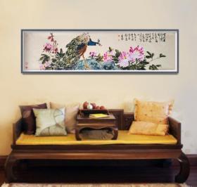 中美协会员张平子老师六尺对开作品有合影