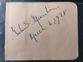 著名小提琴大师 耶胡迪·梅纽因 Yehudi Menuhin 1938年早期亲笔签名册页
