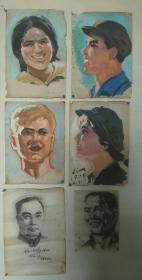 70年代工农兵头像画稿一组6张合售