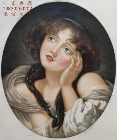 """1921年""""巨幅高档彩色美柔汀""""版画《冥思的少女》— 法国名家""""让·巴蒂斯特·格勒兹(Jean - Baptiste Greuze1725-1805年)""""作品 雕刻家 F.G.STEVENSON 签名 60x47cm 手工限定版"""