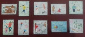 日邮·日本邮票信销· 樱花目录G237 2019年冬季的问候--冰雪运动 84円10全信销