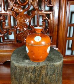 晚清民国珊瑚红开窗福字描金盖罐糖罐品相一流-1750