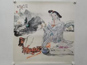 保真书画,著名画家刘选让1997年《棋无对手》人物画一幅。