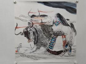 保真书画,著名画家刘选让1997年《源》人物画一幅。