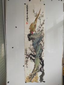诸乐三 花鸟奇石图长条 尺寸100x34
