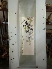 海派老画家 潘君诺 果蔬草虫 立轴 原装旧裱 尺寸102x23