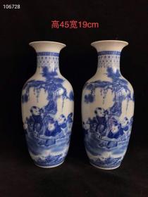 中南海怀仁堂、一九六二年制青花花瓶一对,
