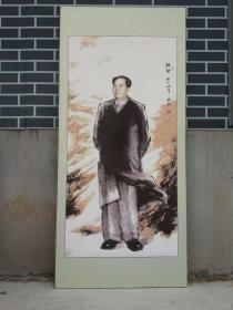 精品!天津夜市收来手绘伟大领袖毛主席全画像,当代名人陈钰,中国美术家,国际美术家联合会会员,完整无损,品相一流。