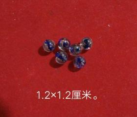明清内花洒金琉璃珠六颗。