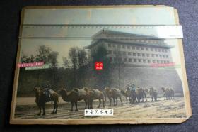 民国时期北京东便门角楼下的骆驼运输队手工上色超大幅银盐老照片一张,1958年拆除。38.8X28.8厘米
