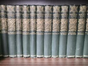 1897年精装古董书,欧洲历史小说鼻祖司各特《威佛利系列小说》,1-24册全,布面精装,英文原版,SCOTT THE WAVERLEY NOVELS,Melrose edition