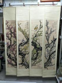 江苏著名花鸟画家黄治兰梅花四条幅,140X32X4,并送画一本。