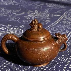 紫铜酒壶 两面开窗錾刻人物故事图案,包浆熟美,造型精致,全品!
