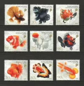 外国邮票 新加坡 2019年 金鱼 动物 9全带边