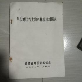 1977年福建省地层表编制组地质测绘队四分队翻印《华东地区古生物名称拉汉对照表》16开109页