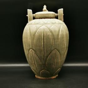 越窑青釉铜钱罐