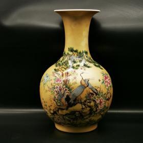 清粉彩十八鹤纹赏瓶