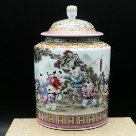 清粉彩婴戏图茶叶罐盖罐