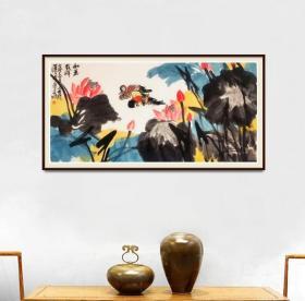 中美协会员,清华美院高研班导师于江平四尺整张精品,有合影
